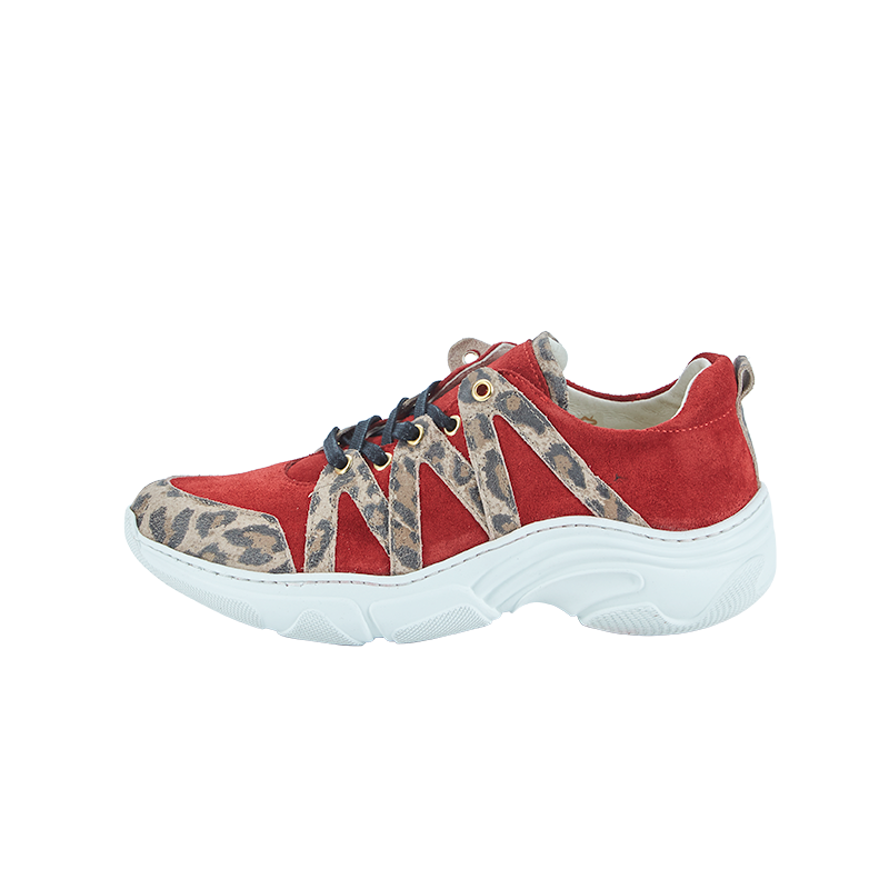 Red sneakers with leopard details 21190